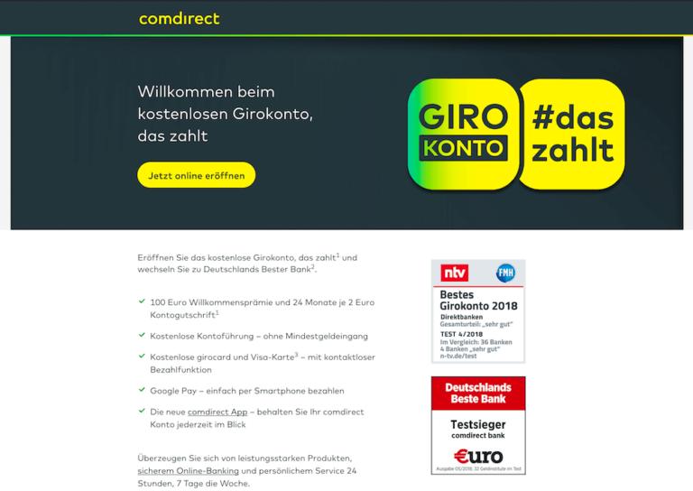 Comdirect Girokonto Erfahrung